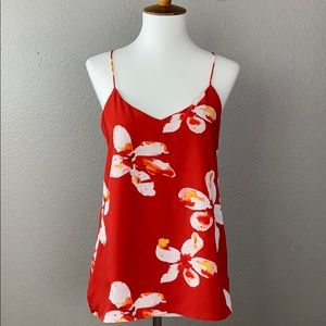 Dalia red & White Floral Tank Camisole Blouse